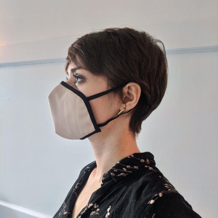 Reusable mask - Crepe small pink (ear attachment)