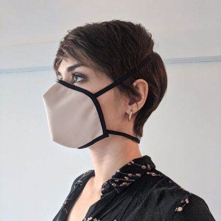Reusable mask - Crepe small pink (attachment behind the head)
