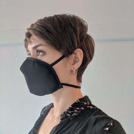 Reusable mask - Crepe medium black (ear attachment)