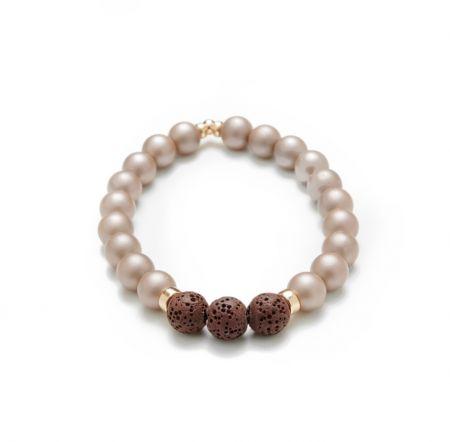 Zen - Pearl champagne matte Bracelet (Essential oils)