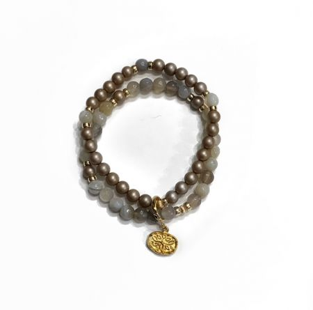 Exceptional - Bracelet in gray agate and mother-of-pearl beads