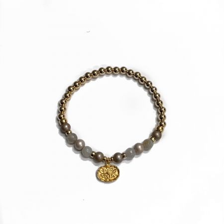 Focus - Bracelet in gray agate and mother-of-pearl beads
