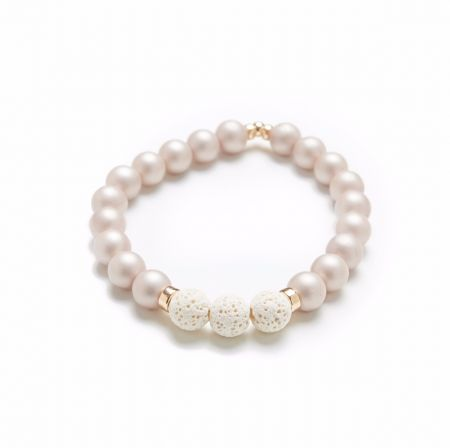 Zen - Bracelet huiles essentielles (perle crème mat)